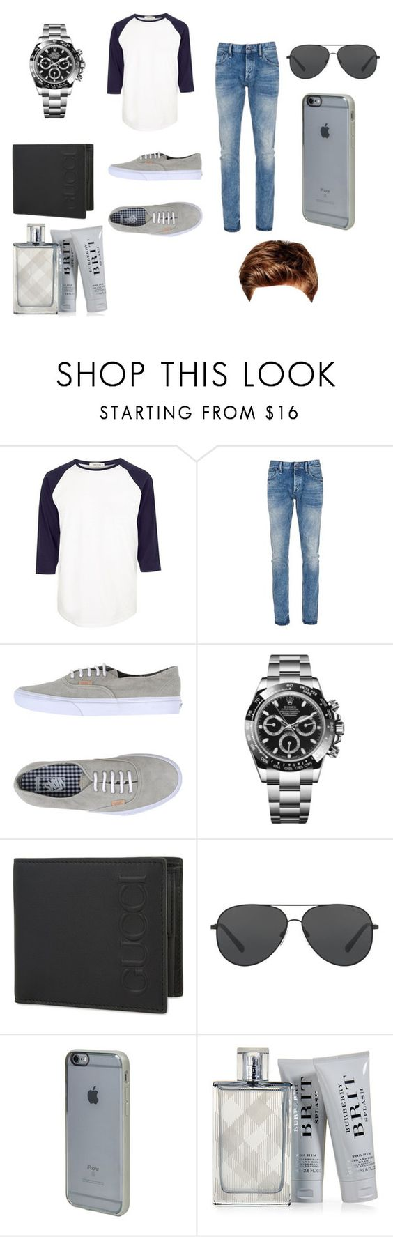 """""""First Day Of School BF Vision"""" by fashionistagirl9898 on Polyvore featuring River Island, Denham, Vans, Rolex, Gucci, Michael Kors, Incase, Burberry, Toni&Guy and men's fashion"""