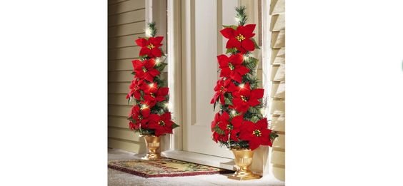 Lighted Flat Back Poinsettia Tree Decoration Christmas  $21.00 #FREE SHIPPING http://www.ebay.com/itm/251719808845?ssPageName=STRK:MESOX:IT&_trksid=p3984.m1559.l2649…