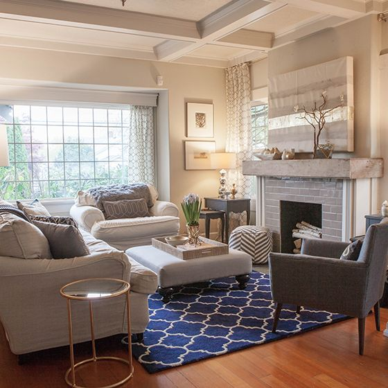 Yellow Navy And Grey Living Room