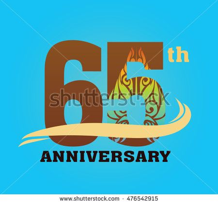 Anniversary logo with javanese shadow puppet pattern 65th