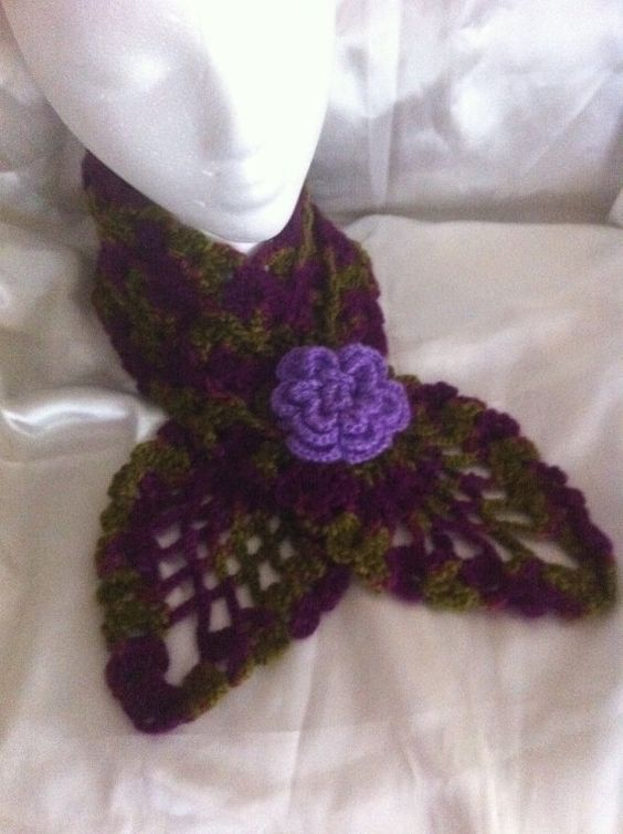 purple and green hand made crochet scarf by NARELO, $29.00