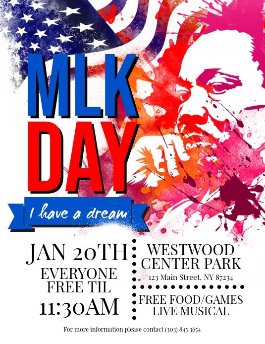 Martin Luther King Jr Day Flyer Martin Luther King Martin Luther King Jr Social Media Graphics