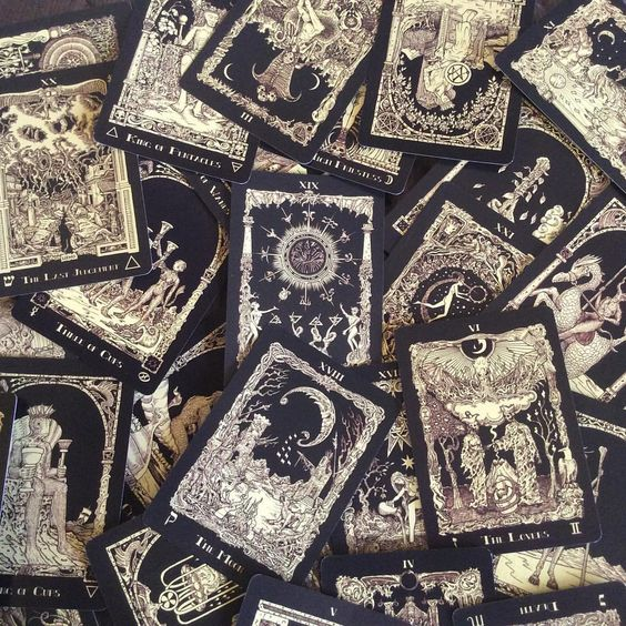 """witchyfashion: """" what deck is this? """" According to the Deck of the Day tumblr, this is The Book of Aathoth tarot. Very, very pretty."""