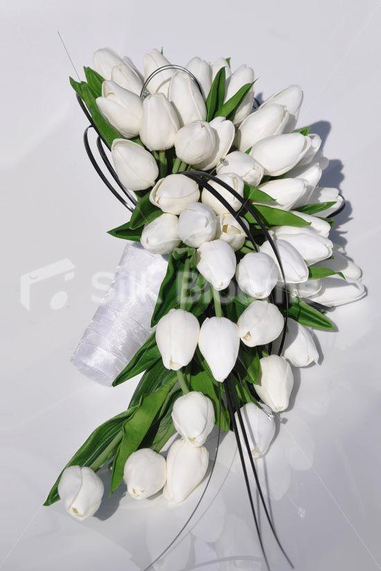 Classic White 'Fresh Touch' Dutch Tulips & Foliage Cascade Bridal ...