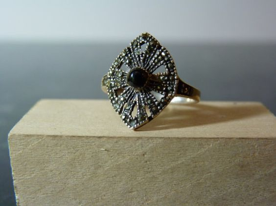 Vintage Silver Sparkling Marcasite Ring by FourSailAccessories, $16.00