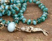 Meerjungfrau Boho Perlen Halskette - inspirierte lange geknotete Strand 'Sea Beauty' Schichtung Schmuck