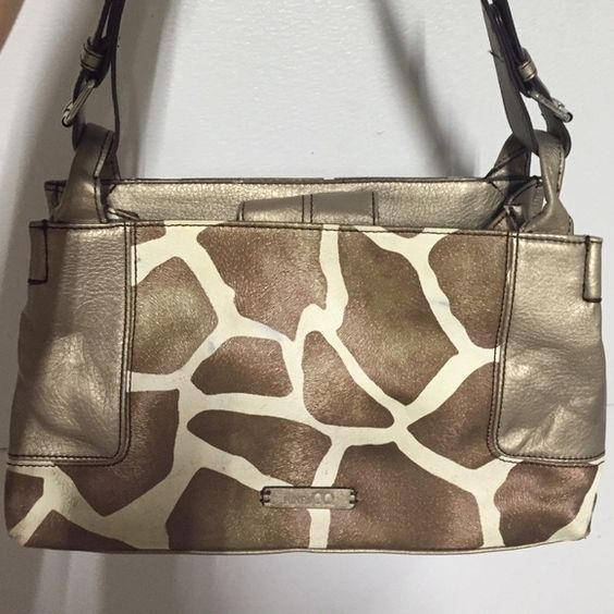 Bronze and Cream Giraffe print purse Great condition just a few pen marks on front Bags