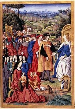Miniature illustrant une édition des Remèdes de l'une et l'autre fortune de Pétrarque, parue à Rouen en 1503.- Les personnages de gauche (Anne de Bretagne, sa fille Claude âgée de 4 ans, ses dames d'honneur, 2 enfants) ont des tailles peu conformes à la réalité. L'artiste a représenté le roi debout devant Raison assise qui lui montre de sa main droite sa fille Claude sur les genoux d'Anne et semble lui demander de se faire une raison. A ses pieds dans la tableau: les images de Foi et…