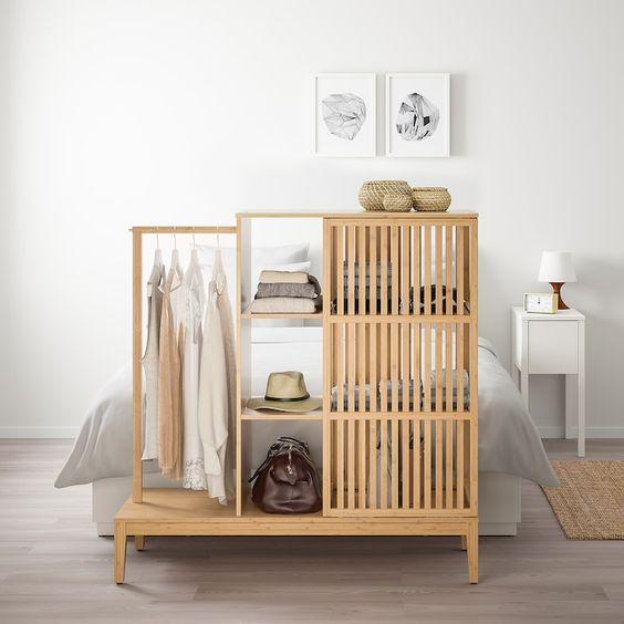 Nordkisa Open Wardrobe With Sliding Door Bamboo 47 1 4x48 3 8 In 2020 Sliding Wardrobe Doors Open Wardrobe Sliding Doors