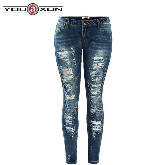 Find More Jeans Information about 1882 YouAxon Celebrity Fashion ...