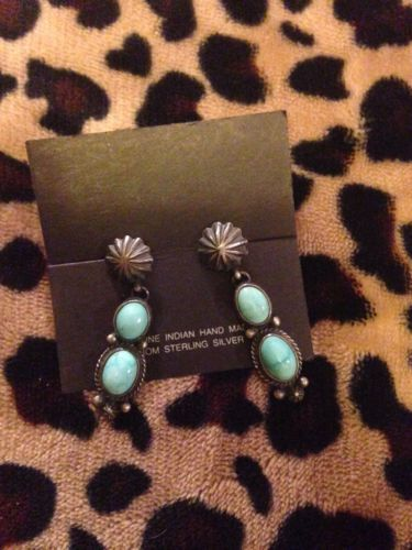 Andy Cadman Dangle Post Earrings Sterling Silver Turquoise Navajo