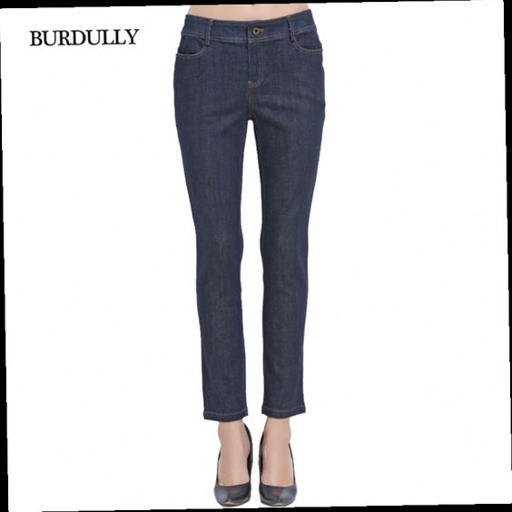 52.33$  Watch now - http://ali14t.worldwells.pw/go.php?t=32739326888 - Autumn 2016 Skinny Jeans Woman Vaqueros Mujer Feminina Cintura Alta Pocket Cotton Women Casual Straight Jeans Trousers Big Size