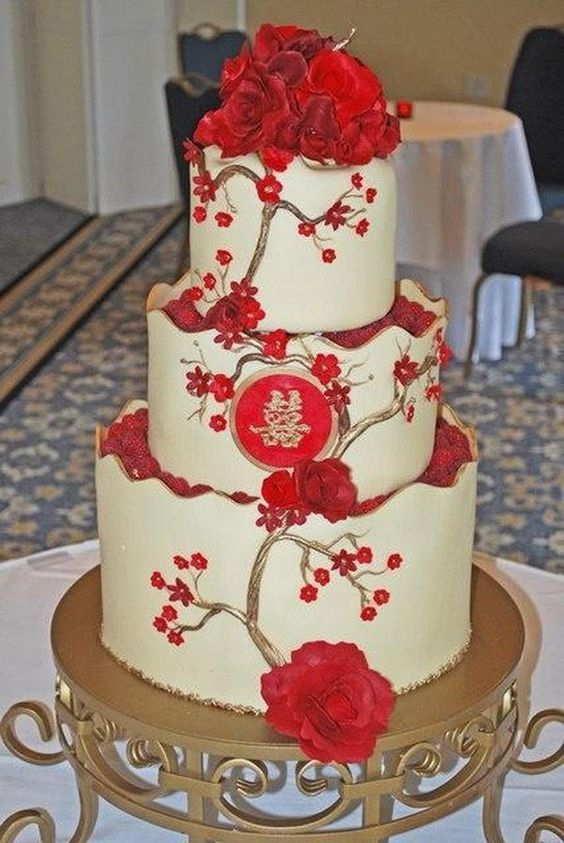 Red Double Happiness Wedding Cake - 17 Traditional Chinese Wedding Ideas, http://hative.com/traditional-chinese-wedding-ideas/,
