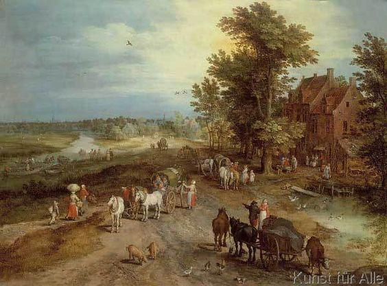 Jan Brueghel der Ältere - Landschaft mit Dorfschenke