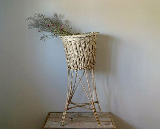 Vintage Wicker Plant Stand, Wicker Planter, Garden, Home Decor, Twig and Wicker Plant Stand