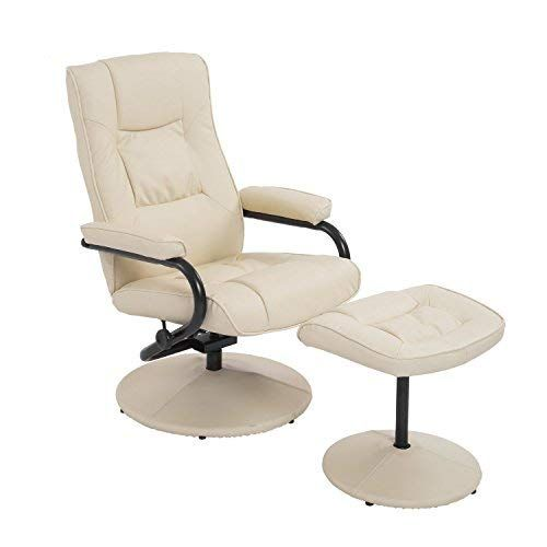 Homcom Pvc Leather Recliner Ottoman Set Cream Recliner With Ottoman Leather Recliner Chair And Ottoman Set