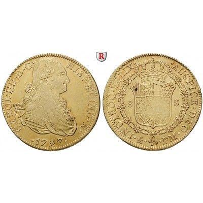Mexiko, Carlos IV., 8 Escudos 1797, ss: Carlos IV. 1788-1808. 8 Escudos 1797 Mexiko FM. Friedb. 43; GOLD, sehr schön 1.200,00€ #coins