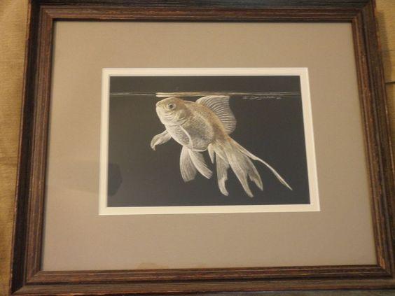 Sally Miller Maxwell Original Scratchboard Artwork // Goldfish // Signed #Realism