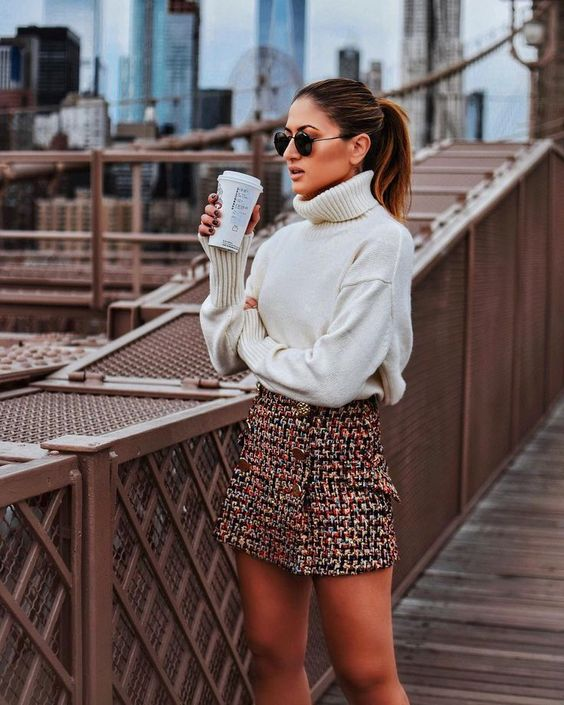 Fall Outfit in NYC (White Turtleneck Sweater, Tweed Skirt, And A Warm Latte) - Click The Photo To Shop The Look!
