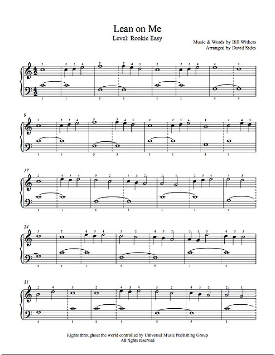 Piano u00bb Piano Tabs Lean On Me - Music Sheets, Tablature, Chords and Lyrics