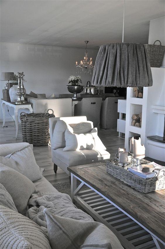 Un air de campagne gris salons cosy et abat jour for Salon cosy gris