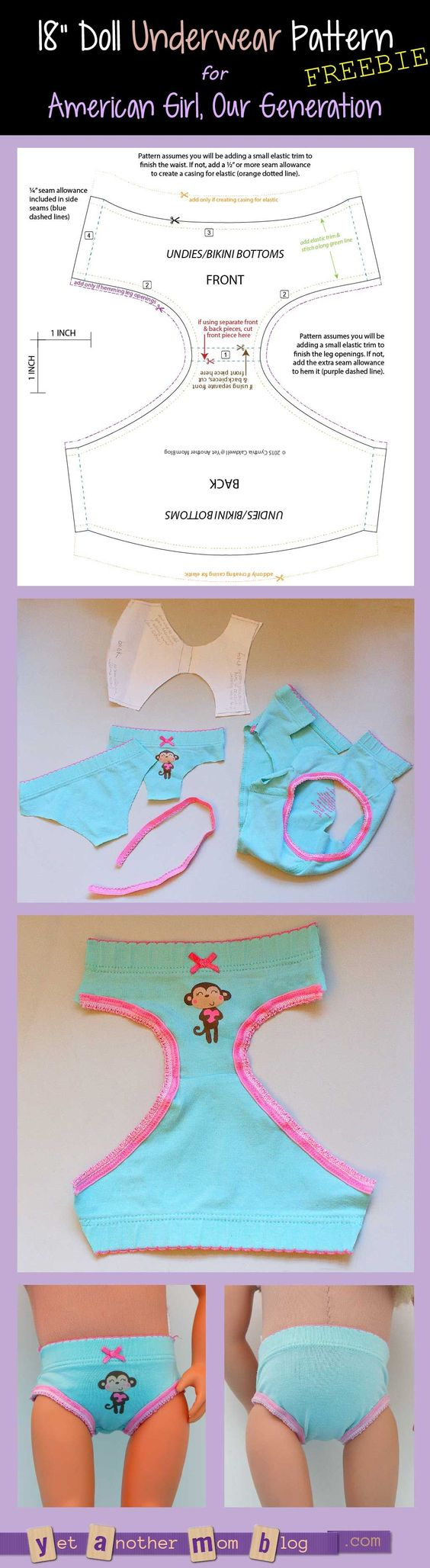 American Girl/Our Generation Doll underwear pattern freebie: