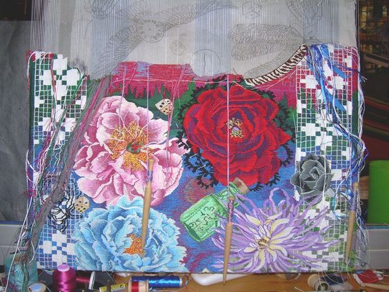 Kathe Todd Hooker tapestry in progress - stunning!