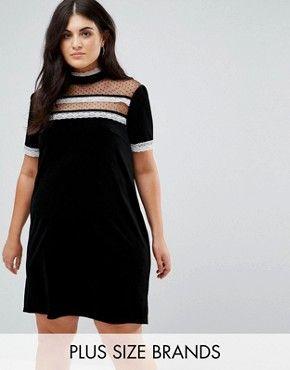Fashion Union Plus High Neck Dress With Victoriana Ruffle Detail