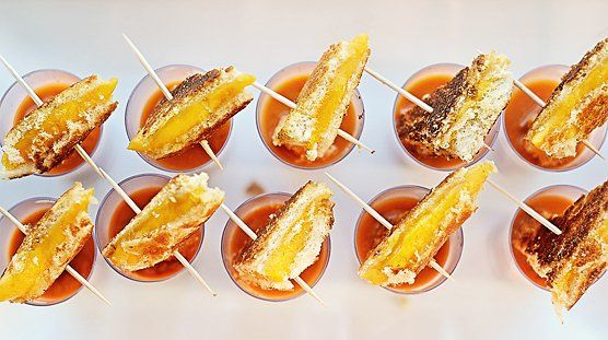 Pin for Later: A Magical Winter Wonderland First Birthday Party Grilled Cheese and Tomato Soup