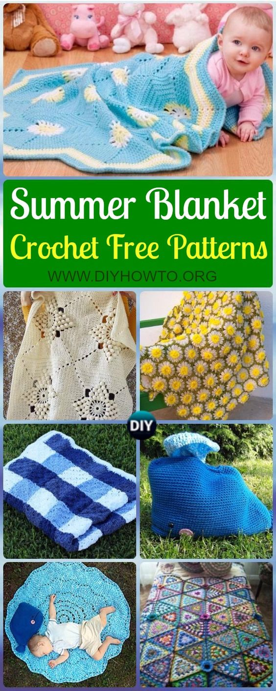 Collection of Crochet Summer Blanket Free Patterns: Crochet Baby Blanket, Crochet Play Mat, Baby Gift via @diyhowto