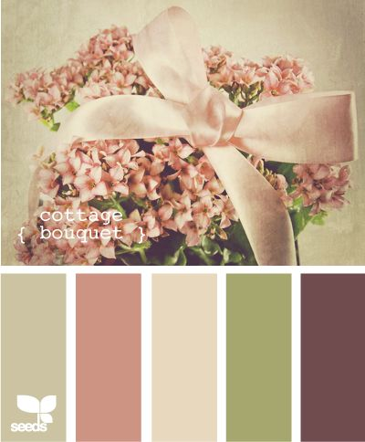 cottage bouquet - first floor bedroom or even bathroom color blend. Finally something to work with the blush sink, toilet & tub!