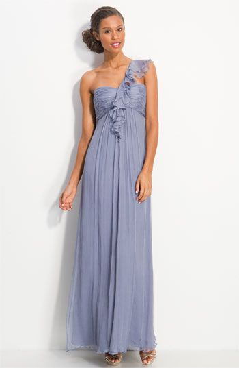 Amsale Ruffled Chiffon One Shoulder Gown | Nordstrom
