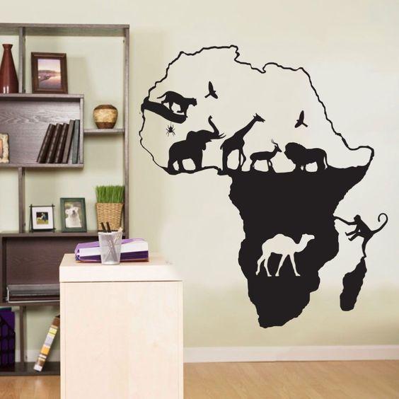 Новая Африка Сафари Животных Слон Жираф Наклейки На Стены Наклейки Home Decor…