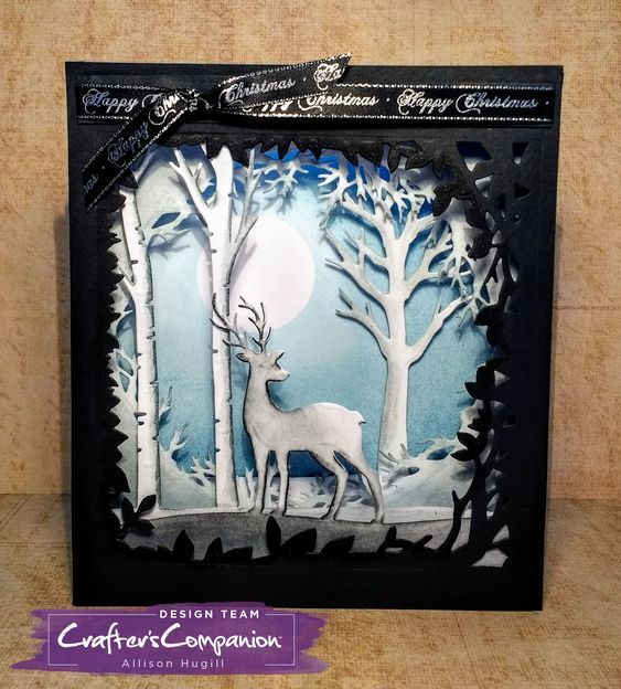 Dimensional Card made using Crafter's Companion Gemini Christmas Build-a-Scene die - Winter Time. Designed by Allison Hugill. #crafterscompanion #ccgemini #christmas