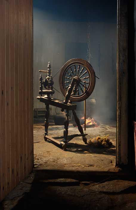 Rumpelstiltskin is still my favorite childhood story. Spinning wheel inside the Blackhouse at Arnol. Scotland
