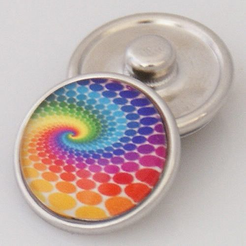 1 PC 18MM Rainbow Dots Glass Dome Silver Candy Snap Charm KB2503 CC0323