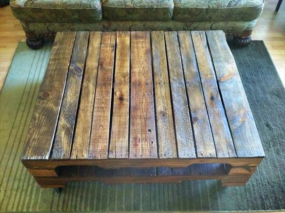 Reclaimed Wooden Coffee Table Pallet Furniture Plans The Useful Pallets Pinterest