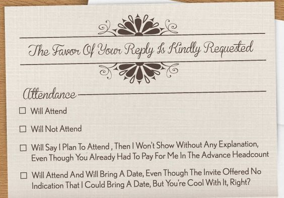Anyone Who's Planned A Wedding Can Appreciate This Scathingly Honest RSVP Card Scary Mommy