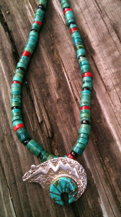 Heishi bead necklace (turquoise, coral & garnet)