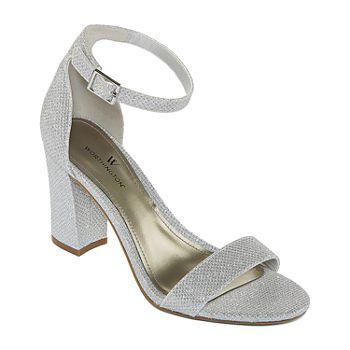 heels, Ankle strap heels, Silver shoes