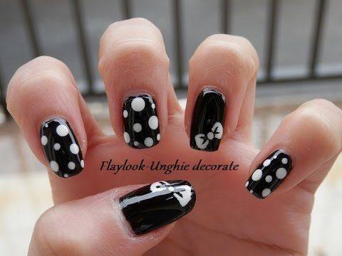 Video tutorial #85 Nail art unghie fiocchetto e pois - By Flaylook - YouTube