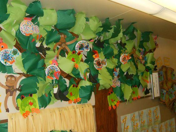 Jungle tree, monkeys, parrots, tree frogs, toucans, hallway display