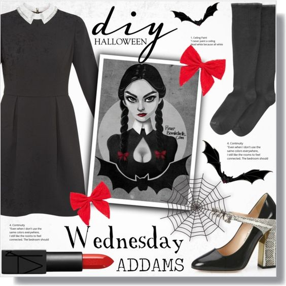 DIY Halloween Costume: Wednesday Addams by alexandrazeres on Polyvore featuring мода, Ted Baker, Goodhew, Gucci, Carole and NARS Cosmetics