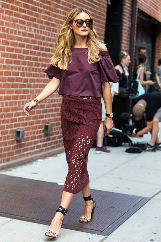 Olivia Palermo wears the perfect pre-fall off-the-shoulder look.