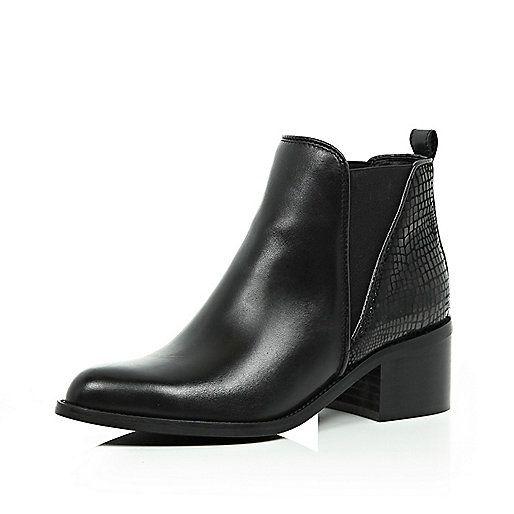 Unique  WomensHighBlockHeelPointedChelseaAnkleBikerBlackBootsShoes