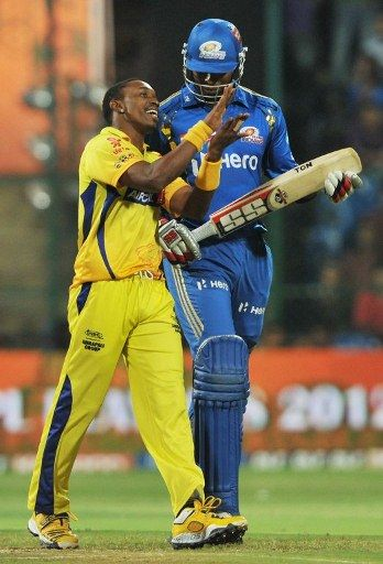 "MUMBYE-BYE INDIANS: Dwayne Bravo (of Chennai Super Kings), ""Two days ago he [Kieron Pollard of the Mumbai Indians] sent me a message asking me to pack my bags and go home ...it was my turn today to tell him."""