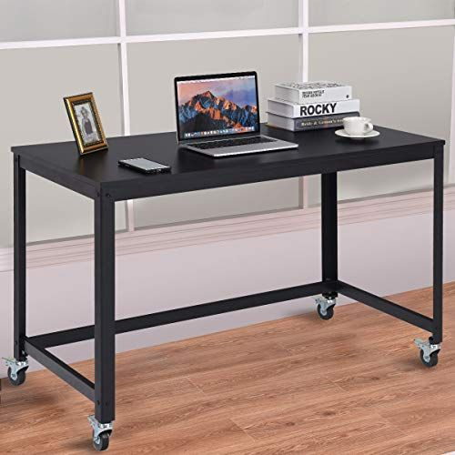 Tangkula Mobile Computer Desk Simple Style Rolling Home Office Study Table Writing Desk Movable Workstation With 4 Wall S Furniture Decor Wood Desk Top Desk Wood Desk