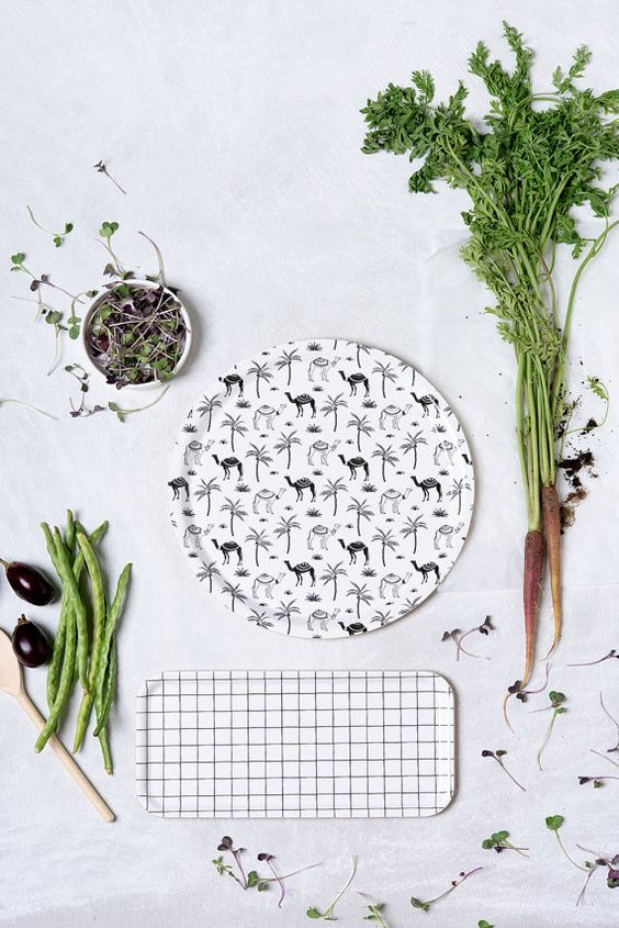 Birch Tray  Black and White Grid by Micush on Etsy