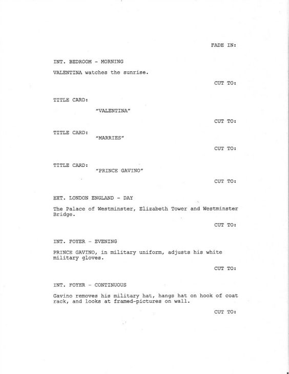 Page 1 of Royal Love Story From The Grave - Sample Screenplay - screenplay template