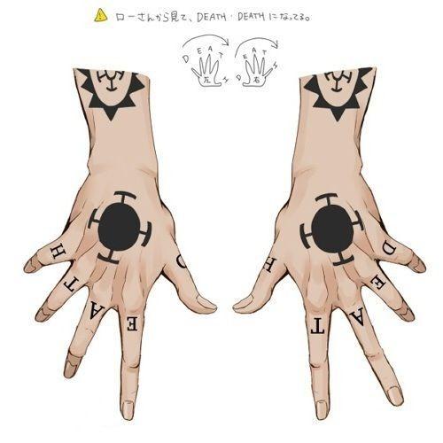 One Piece Hand Tattoo: Death - Trafalgar Law Tattoos